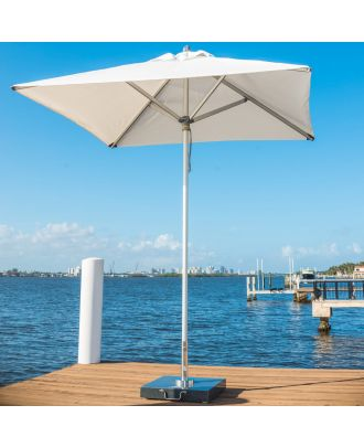 white heavy duty garden umbrella on deck and Thames view