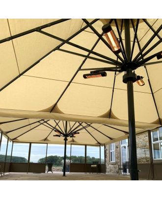 2 giant parasols with heaters on a terrace deck with screen barriers