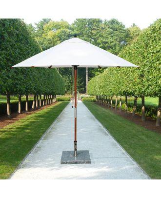 white wooden garden parasol in a garden